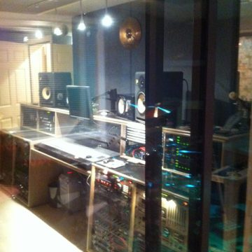 looking in to the engineers room from the tracking room
